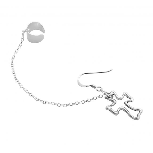 925 sterling silver earrings Outline Cross Ear Cuff