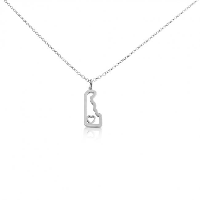 925 sterling silver necklace Delaware Home is Where The Heart Is State Necklace