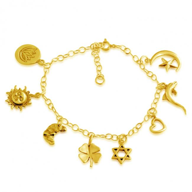 Gold plated bracelet Spirituality Multi Charm