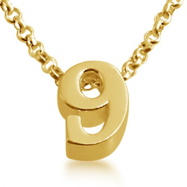 Gold plated necklace Initial Letter 9 Personalized Symbols & Letters Serif Font