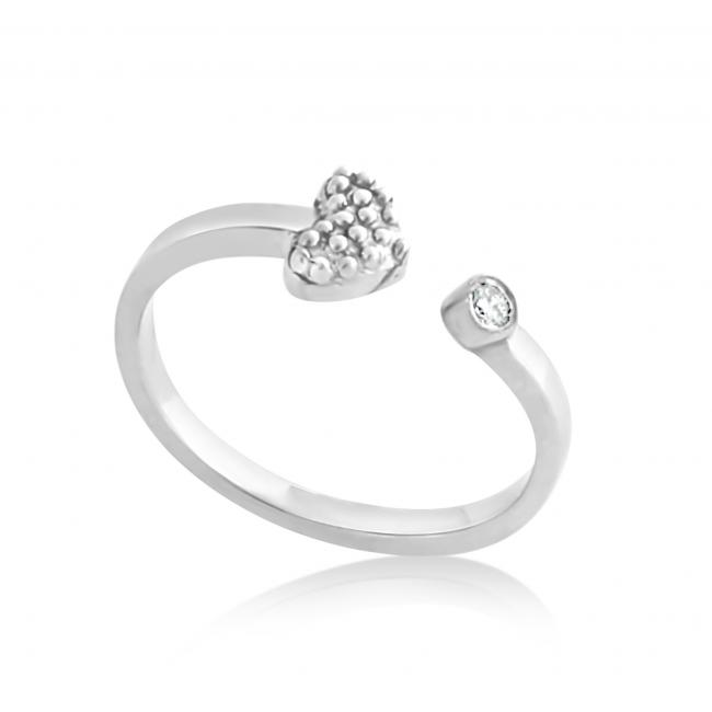925 sterling silver ring 2mm (0.03 ct. tw) Diamond Heart Resizable