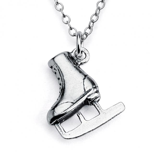 925 sterling silver necklace Solid 3D Ice Skate Winter Sports Fan