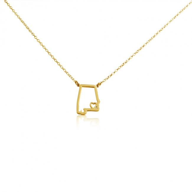Gold plated necklace Alabama Home is Where The Heart Is State Necklace