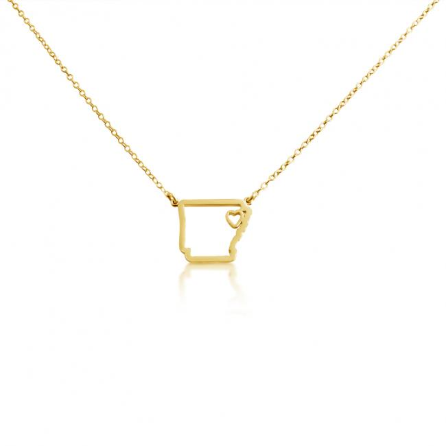 Gold plated necklace Arkansas Home is Where The Heart Is State Necklace
