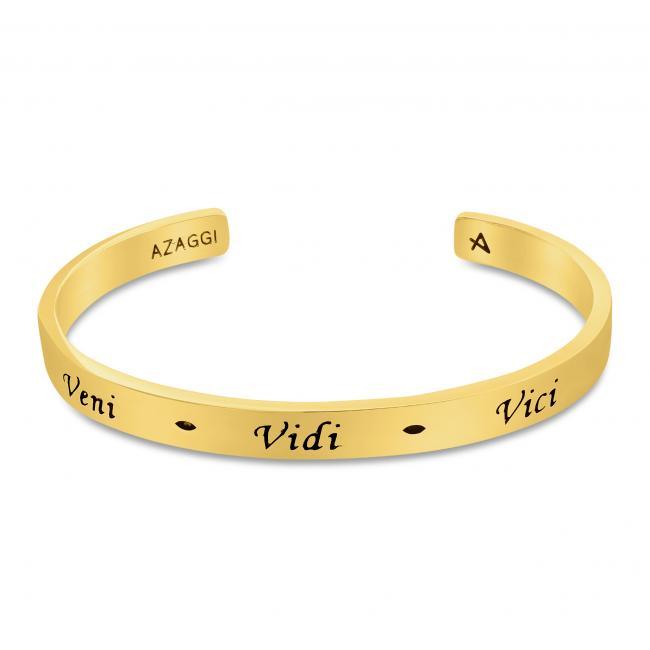 Gold plated bracelet Brass/ Rhodium Veni Vidi Vici Inspirational Cuff Bracelet