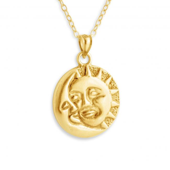 Gold plated necklace Crescent Moon & Star