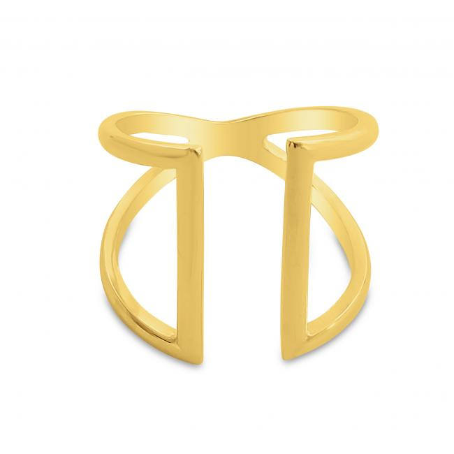 Gold plated ring Two Parallel Lines Open Ring