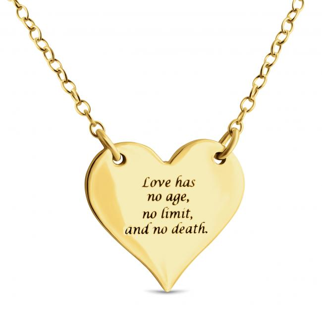 Gold plated necklace Solid Heart w/ Love Message Sideways