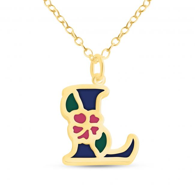 Gold plated necklace Colored Initial Letter L with Flower