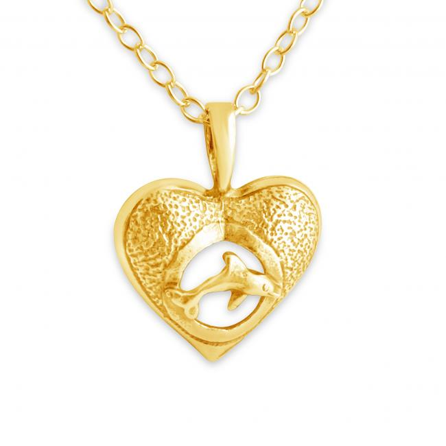 Gold plated necklace Hawaiian Nai'a Dolphin & Heart