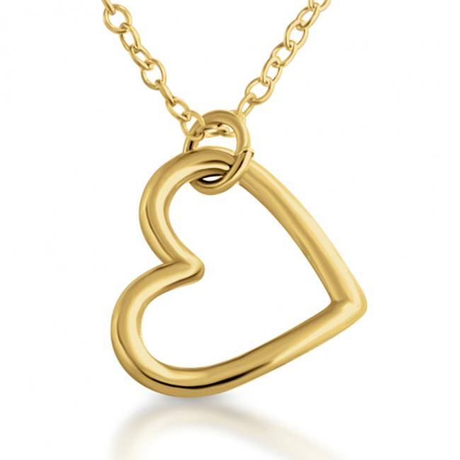 Gold plated necklace Open Hanging Heart Sideways