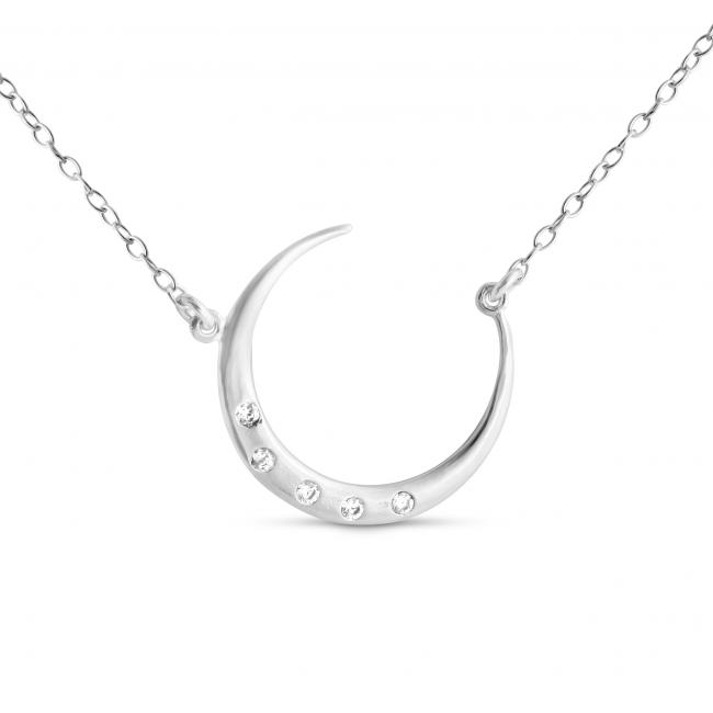 925 sterling silver necklace Round Crescent Moon w/ CZs Sideways