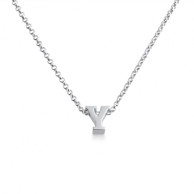 925 sterling silver necklace Initial Letter Y Personalized Symbols & Letters Serif Font