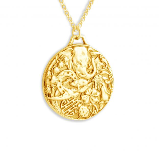 Gold plated necklace Good Luck Protection