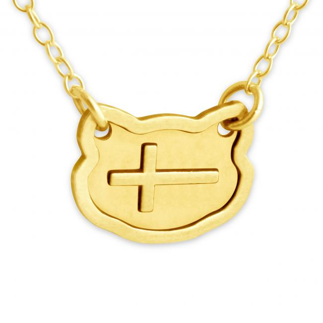 Gold plated necklace Sideways Cross