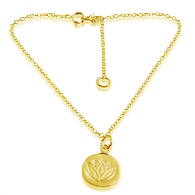 Gold plated anklet Lotus Medallion