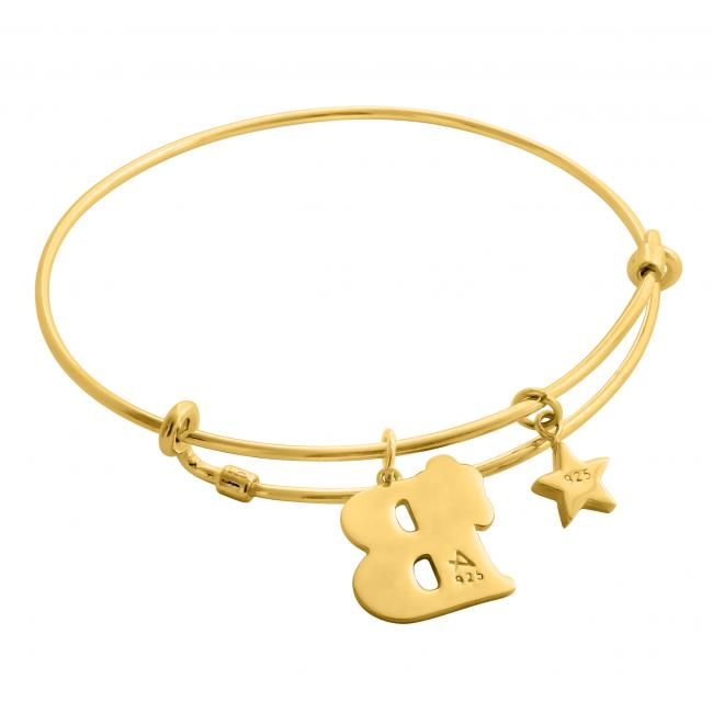 Gold plated bracelet Born Under a Lucky Star Adjustable Wire Bangle