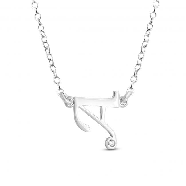 925 sterling silver necklace Initial Script Letter A with CZ Sideways