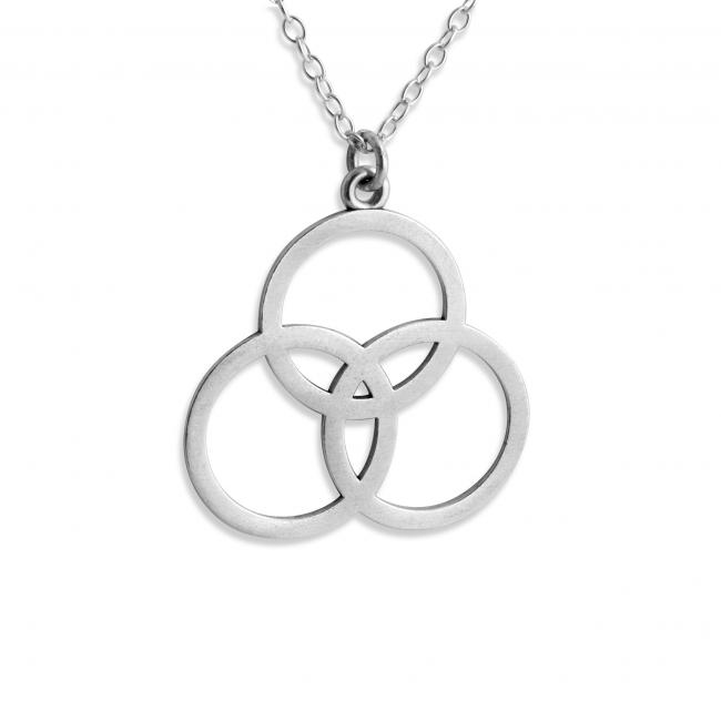 925 sterling silver necklace Borromean Rings