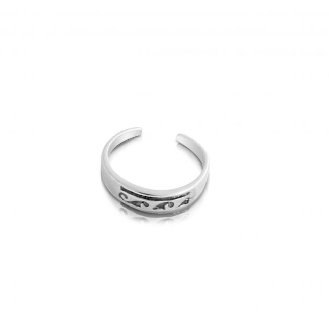 925 sterling silver ring Stylized Waves Adjustable Toe Ring