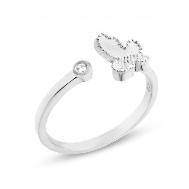 925 sterling silver ring 2mm (0.03 ct. tw) Diamond Butterfly Resizable