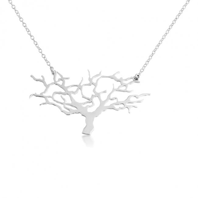925 sterling silver necklace Tree of Life Silhouette Sideways