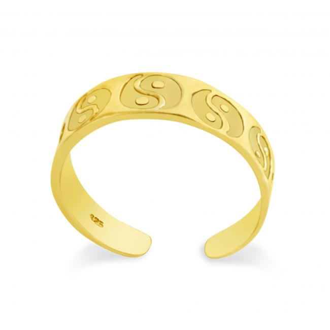 Gold plated ring Ying Yang Adjustable Toe Ring