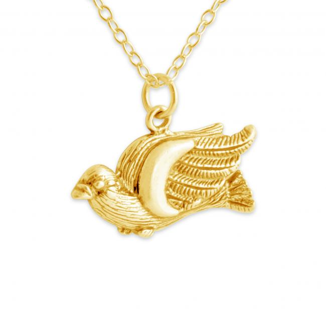 Gold plated necklace Wild Big Bird Ornithologist's