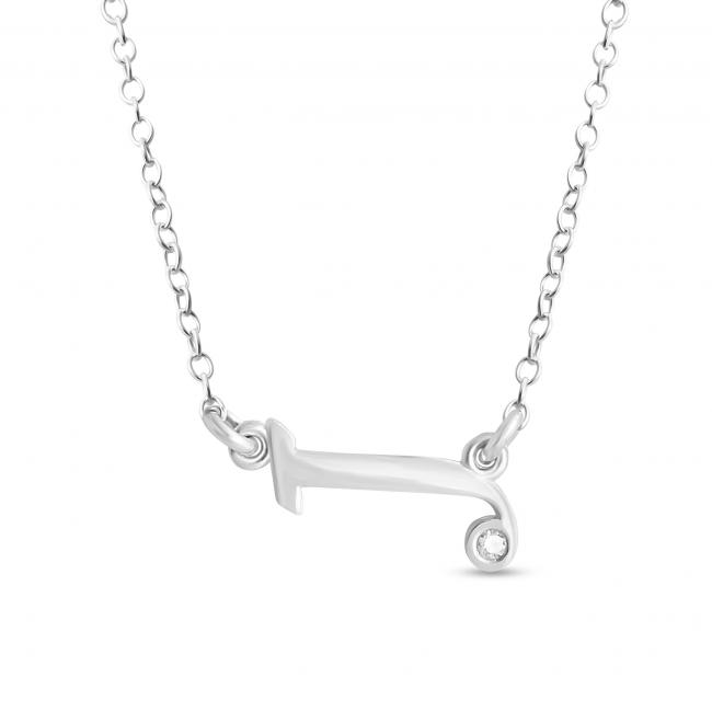925 sterling silver necklace Initial Script Letter J with CZ Sideways