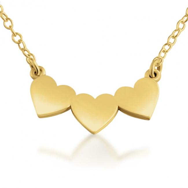 Gold plated necklace 3 Solid Hearts