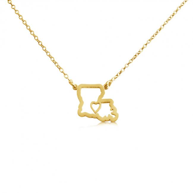 Gold plated necklace Louisiana Home is Where The Heart Is State Necklace