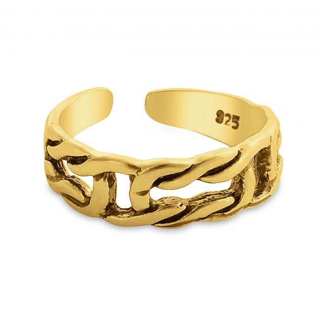Gold plated ring Chain Linked Adjustable Toe Ring
