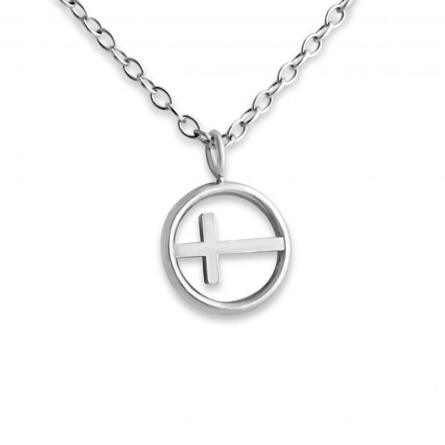925 sterling silver necklace Tiny Cross in Circle