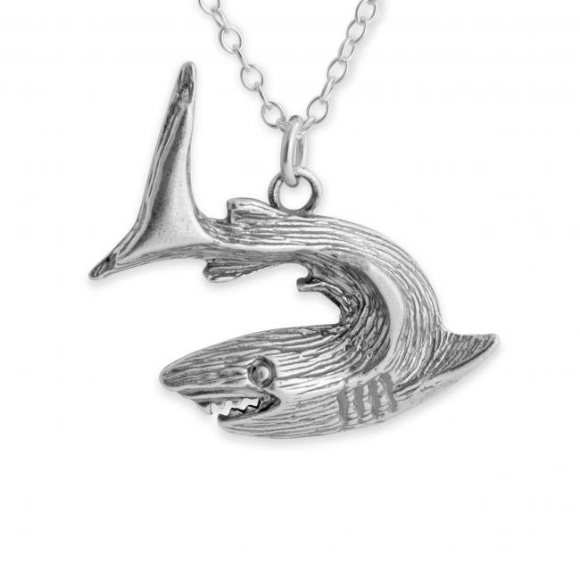 925 sterling silver necklace Textured Great White Shark Ocean Predator