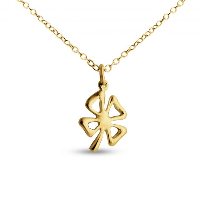 Gold plated necklace Open 4-leaf Clover