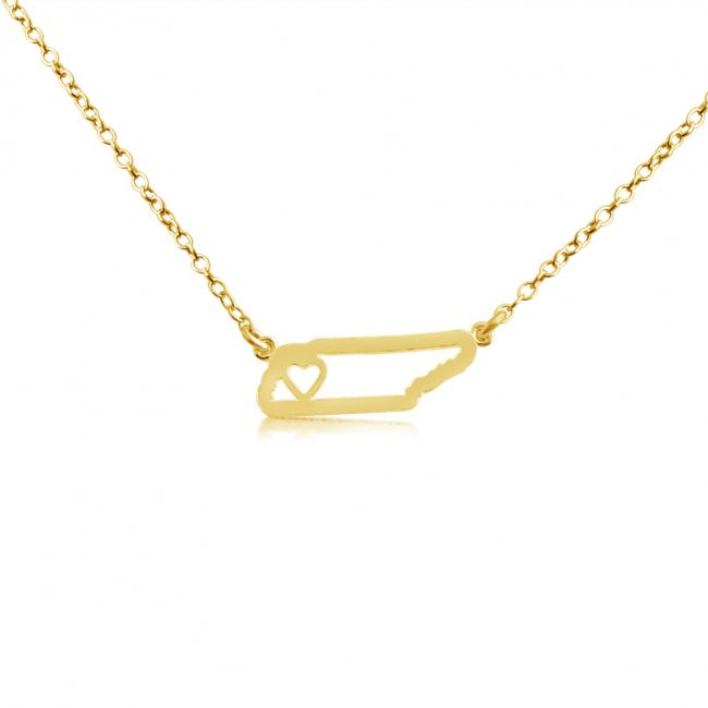 Gold plated necklace Tennessee Home is Where The Heart Is State Necklace