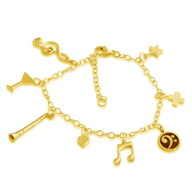 Gold plated bracelet Music Lovers Multi Charm