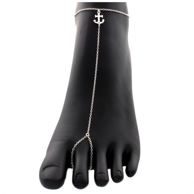 925 sterling silver anklet Anchor Toe Ring Anklet