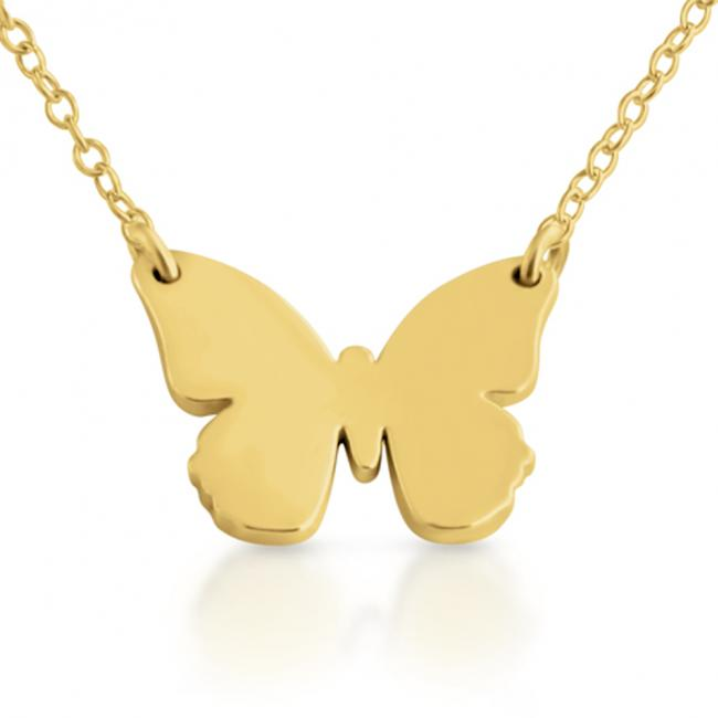 Gold plated necklace Small Butterfly Silhouette Sideways