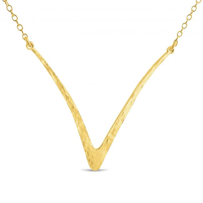 Gold plated necklace Hammered Curved V Sideways