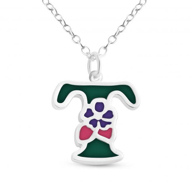 925 sterling silver necklace Colored Initial Letter T with Flower