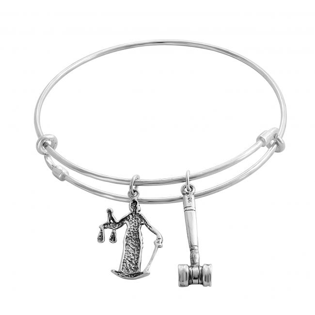 925 sterling silver bracelet Lady Justice Adjustable Wire Bangle