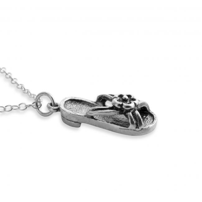 925 sterling silver necklace 3D Hawaiian Sandal Summer Shoe