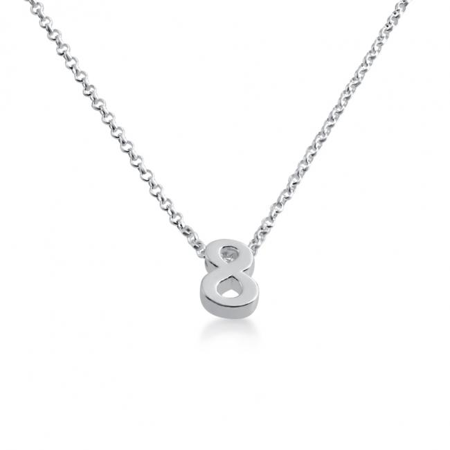 925 sterling silver necklace Initial Letter 8 Personalized Symbols & Letters Serif Font