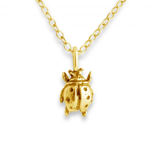 Gold plated necklace 3D Tiny Ladybug Bug Insect