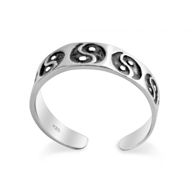 925 sterling silver ring Ying Yang Adjustable Toe Ring