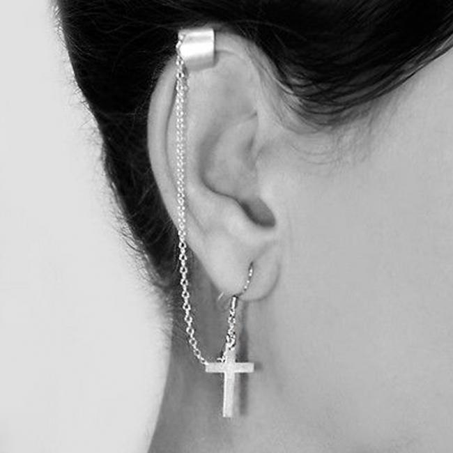 925 sterling silver earrings Simple Drop Dangle Cross Religious Ear Cuff Wrap