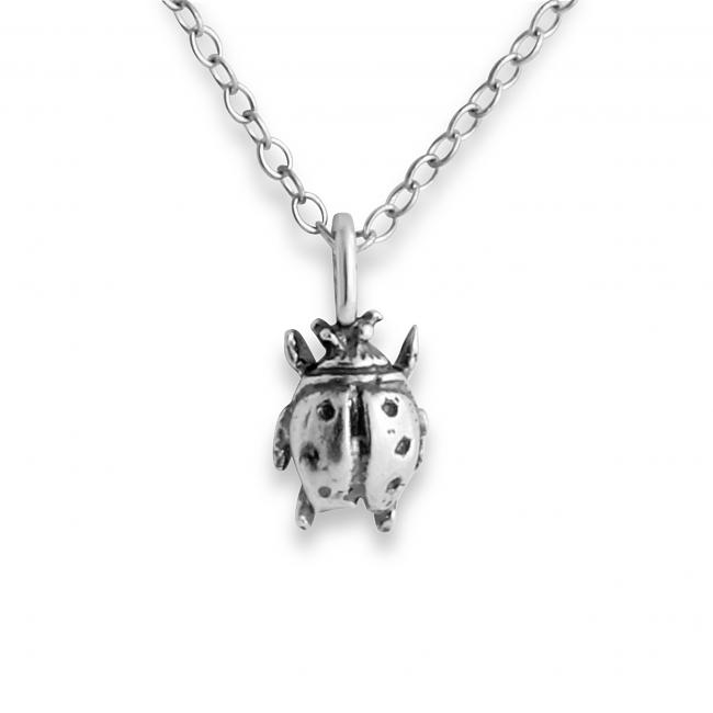 925 sterling silver necklace 3D Tiny Ladybug Bug Insect