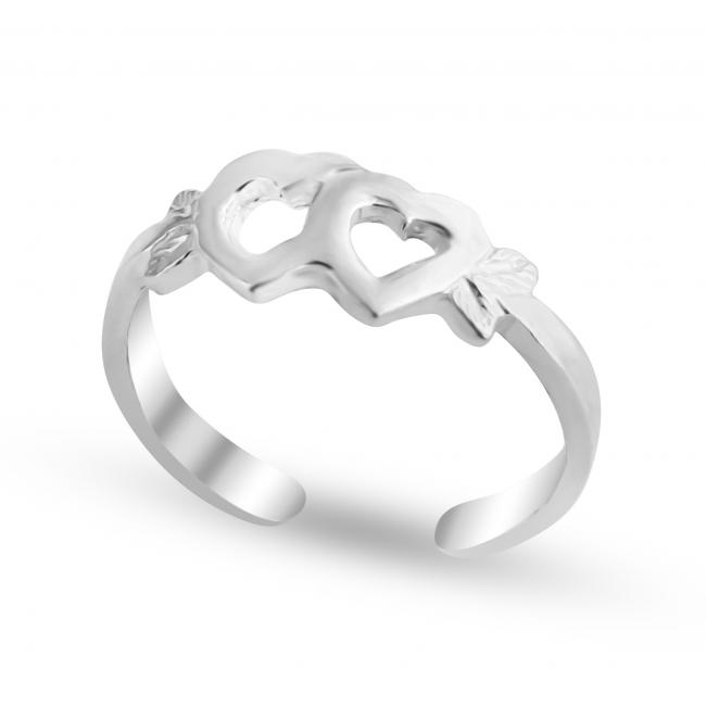 925 sterling silver ring Joined Hearts Adjustable Toe Ring