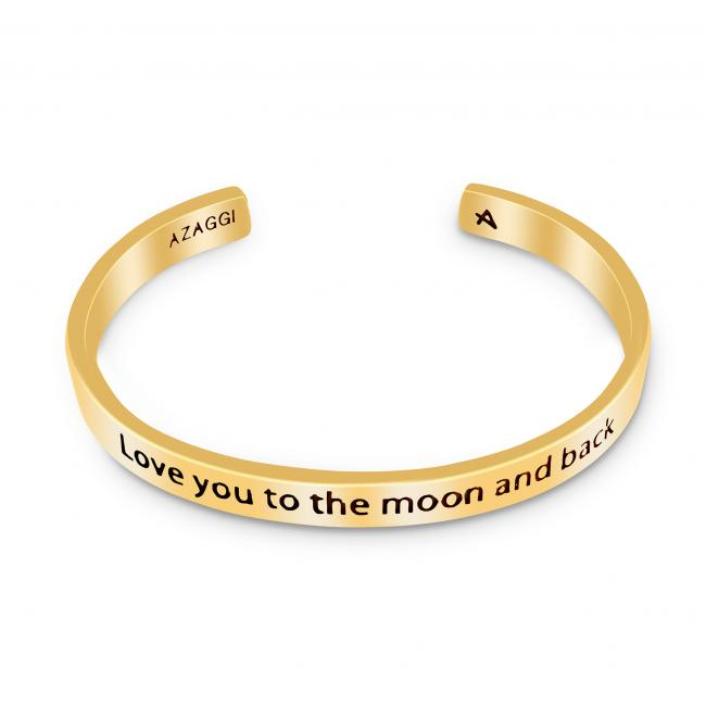 Gold plated bracelet Brass/ Rhodium Love You to the Moon and Back Inspirational Cuff Bracelet